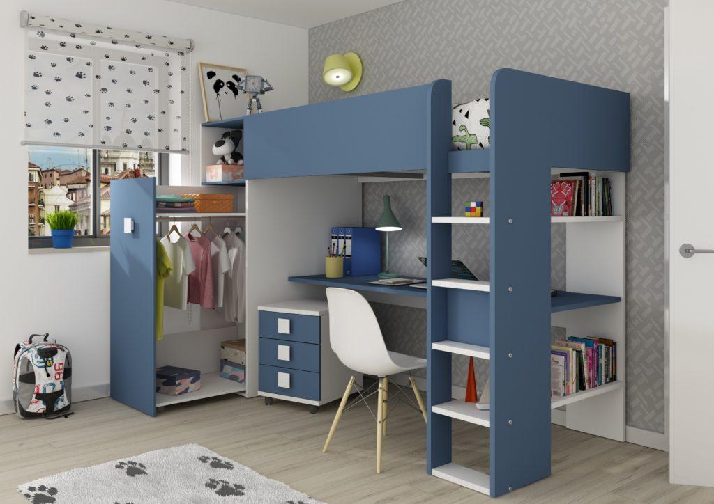 Studio High Sleeper Bed with Wardrobe Blue