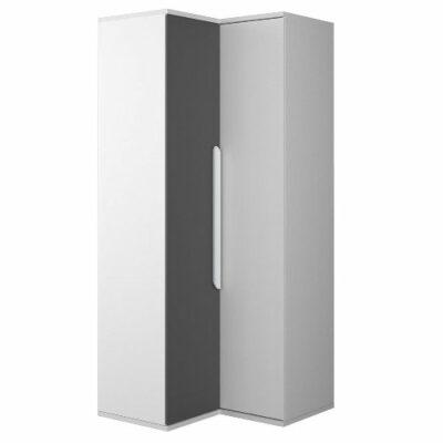 Corner Wardrobe - White/Graphite Trasman
