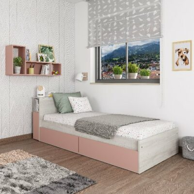 Jazz Single Bed with Nightstand & Underbed Drawers - Cascina/Pink by Trasman