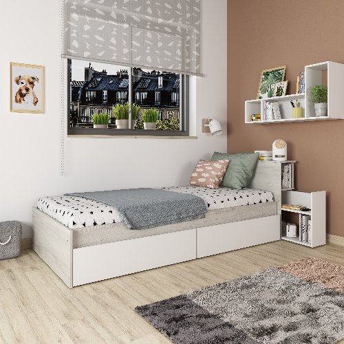 Jazz Single Bed with Nightstand & Underbed Drawers - Cascina/White by Trasman