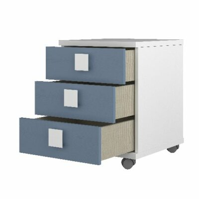 Nightstand with 3 Drawers - White/Blue by Trasman
