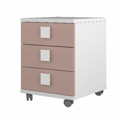 Nightstand with 3 Drawers - White/Pink by Trasman