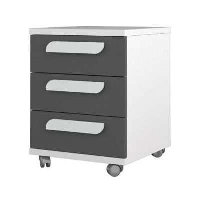 Nightstand with 3 Drawers - White/Graphite by Trasman