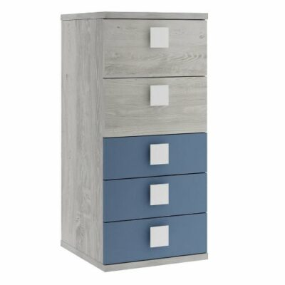 Tall Boy with 5 Drawers - Cascina/Blue by Trasman