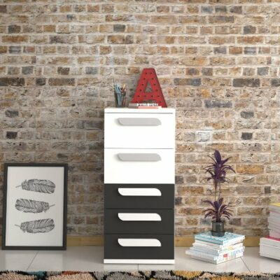 Tall Boy with 5 Drawers - White/Graphite by Trasman