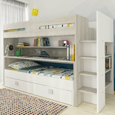 Trent Bunk Bed with Desk & Underbed Drawers (Bo10) - Cascina/White by Trasman