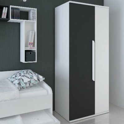Wardrobe with 2 Doors - White/Graphite by Trasman