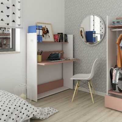 Warner Wall Desk (Bo0)- White/Pink by Trasman