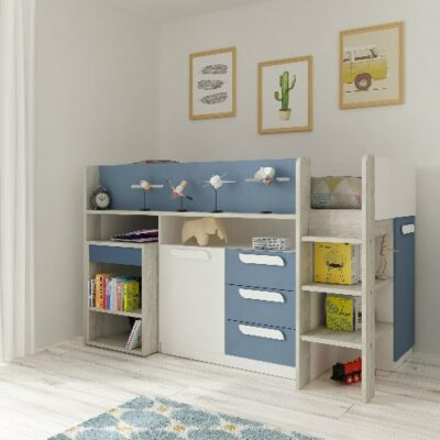 York Mid Sleeper Bed (Bo8) - Cascina/Blue by Trasman