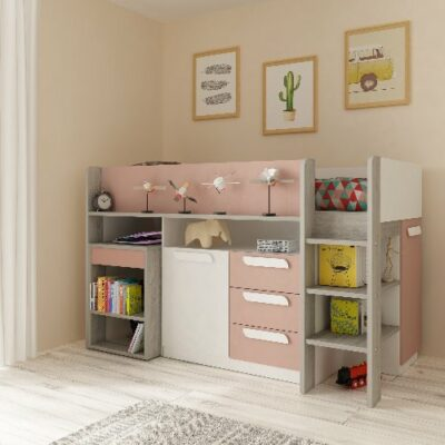 York Mid Sleeper Bed (Bo8) - Cascina/Pink by Trasman