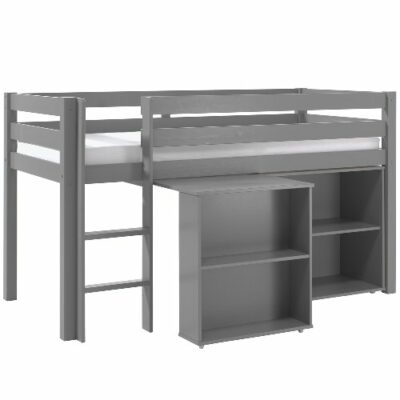 Emerson Mid Sleeper Bed with Bookcase & Desk - Grey