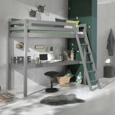 Hadley High Sleeper Bed with Long Desk- Grey