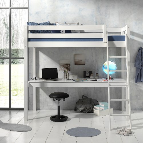 Hadley High Sleeper Bed with Long Desk- White
