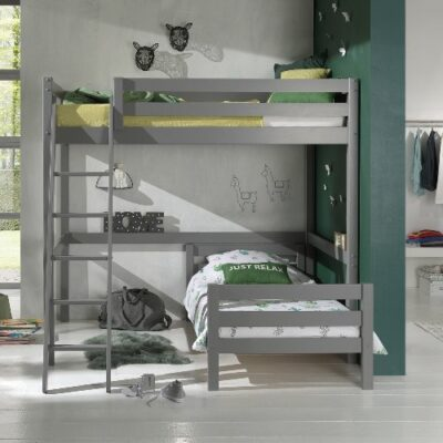 Mezzanine High Sleeper Bed with Standard Single Bed- Grey (Double, Extra Length)