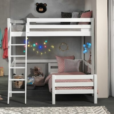 Mezzanine High Sleeper Bed with Standard Single Bed- White (Double, Extra Length)