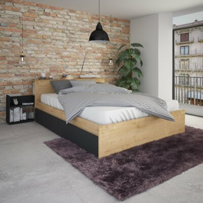 Jazz Double Bed with Nightstand & Underbed Drawers - Oak by Trasman