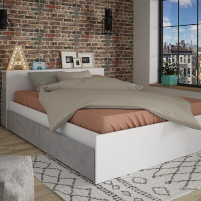 Jazz Double Bed with Nightstand & Underbed Drawers - White by Trasman