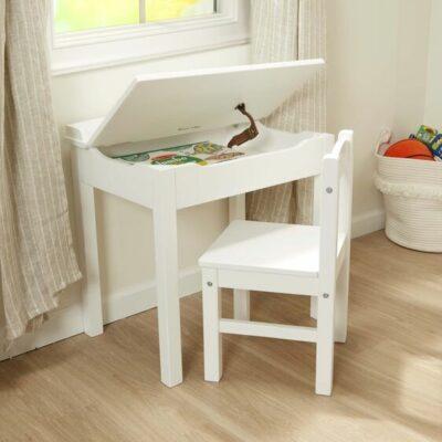 Wooden Lift-Top Desk & Chair Set - White
