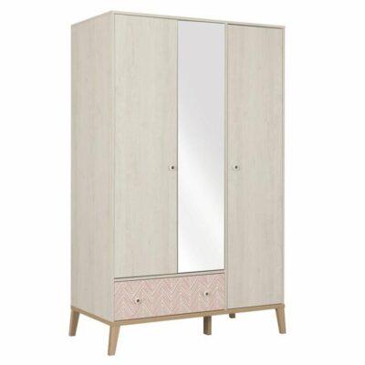 Alika Wardrobe with 3 Doors & Mirror - Whitewashed Chestnut by Gami