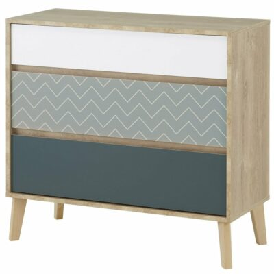 Larvik Chest of Drawers with 3 Drawers - Blond Oak/White by Gami