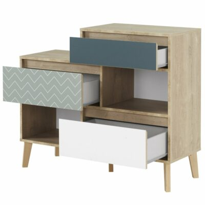 Larvik Chest of Drawers with 3 Drawers + 2 Compartments - Blond Oak/White by Gami
