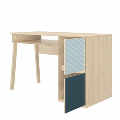 Larvik Desk with 2 Doors - Blond Oak/White by Gami