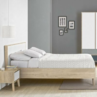 Larvik Double Bed - Blond Oak/White by Gami
