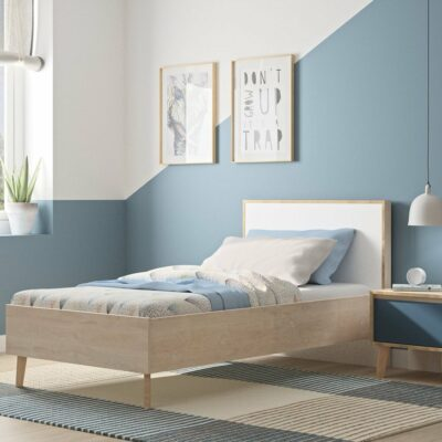 Larvik Single Bed - Blond Oak/White by Gami