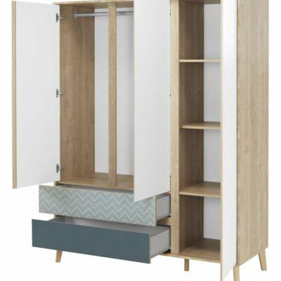 Larvik Wardrobe with 3 Doors + 2 Drawers - Blond Oak/White by Gami
