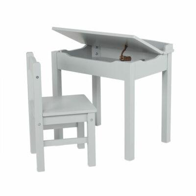Wooden Lift-Top Desk & Chair Set - Grey