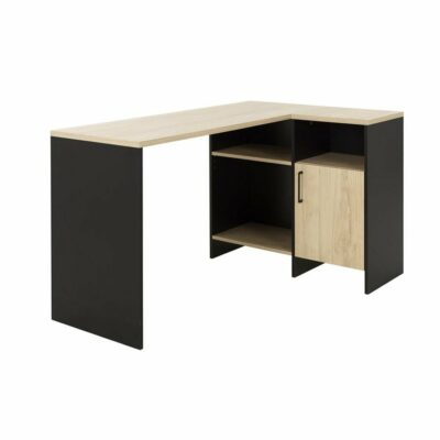 Liverpool Corner Desk - Natural Chestnut/Black by Diagone