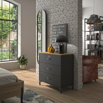 Manchester 3 Drawer Chest - Oak/Black by Diagone