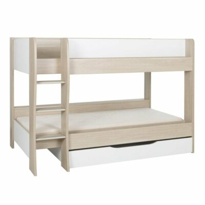 Roomy Bunk Bed with Underbed Drawer - Light Oak/White by Gami
