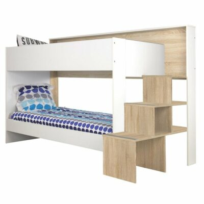 Teotea Bunk Bed with Underbed Trundle - Sonoma Oak/White by Gami
