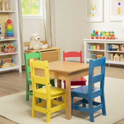 Wooden Play Table & 4 Chair Set - Primary