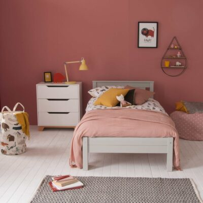 Superior Classic Single Bed, Solid Beech - Dove Grey by Little Folks