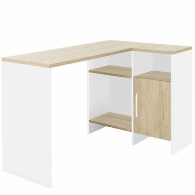 Liverpool Corner Desk - White/Chestnut by Diagone