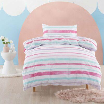 Painter Stripe Duvet Set - Candy Pink (Double)