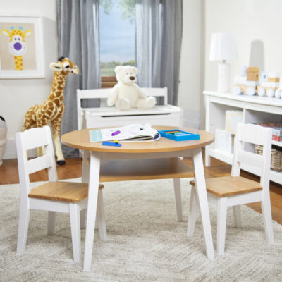 Wooden Round Play Table & 2 Chair Set - Natural/White