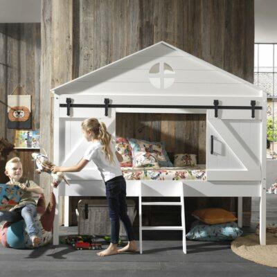 Barnie Mid Sleeper House Bed - White