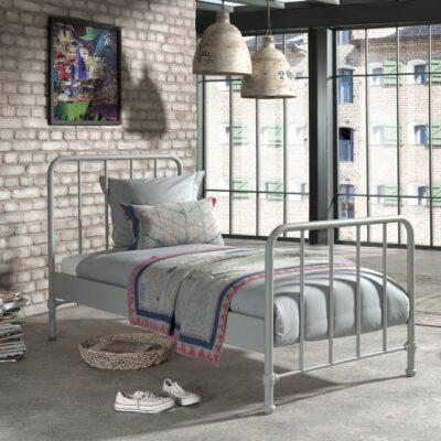 Bronx Metal Bed incl Slats - Matt Rainy Grey (Single)