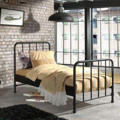 Bronx Metal Bed incl Slats - Matt Black (Single)