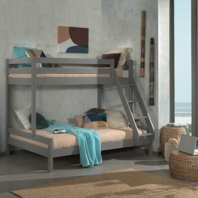 Family Double Bunk Bed, Solid Wood - Grey